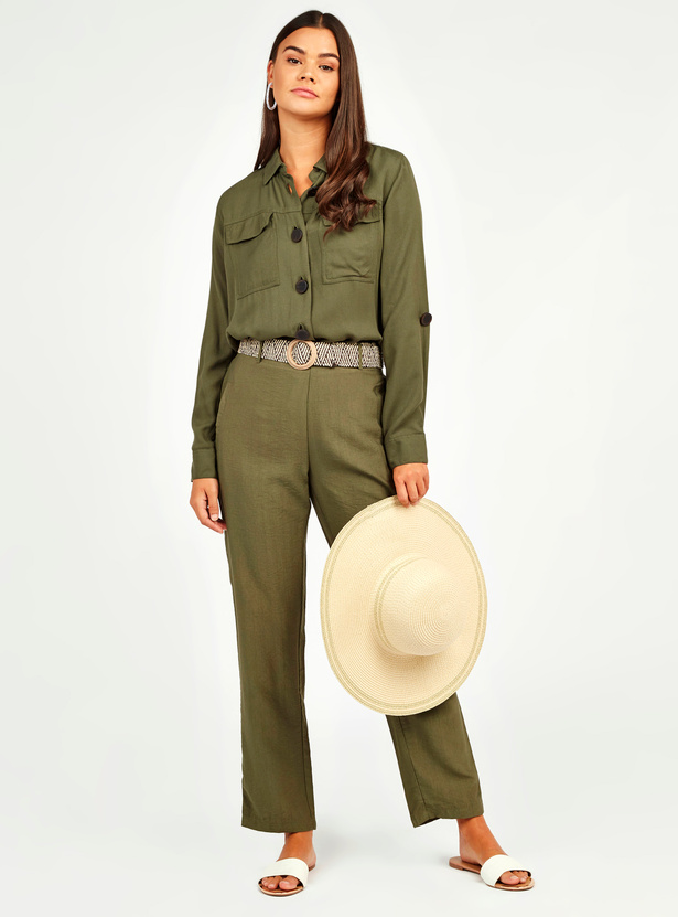Textured Pants with Pocket Detail and Belt