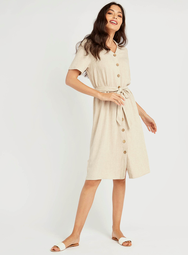 Textured V-Neck Midi Shirt Dress with Short Sleeves and Tie Ups