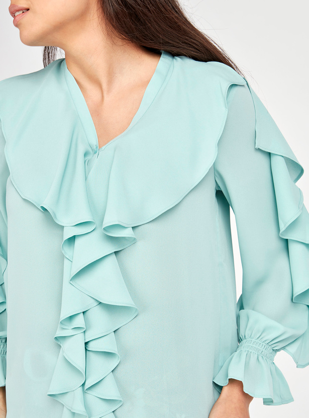 Solid V-neck Top with Ruffle Detail and Long Sleeves