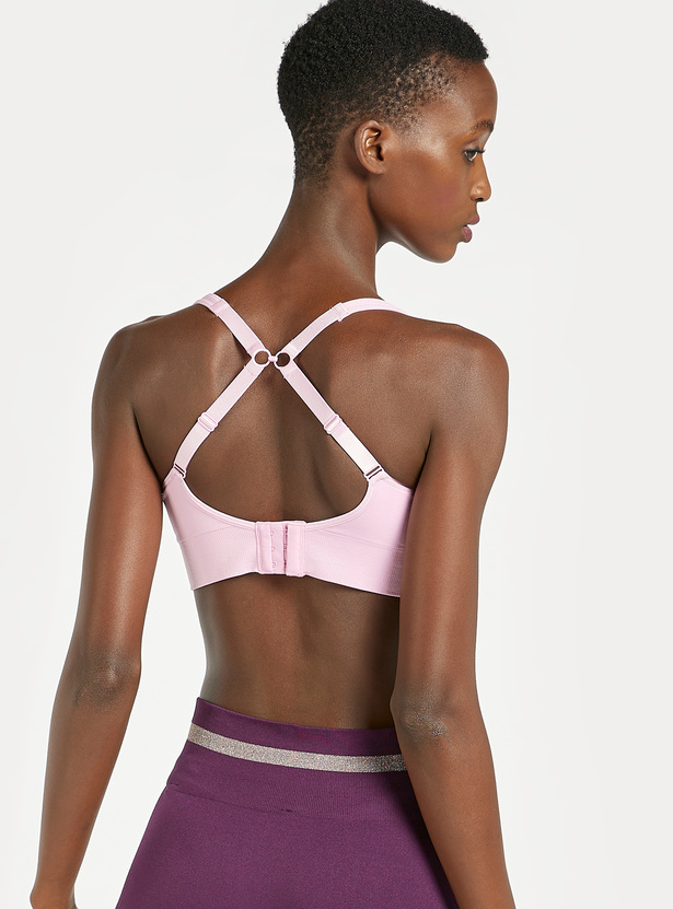 Slim Fit Solid Sports Bra with V-neck and Multi Way Strap