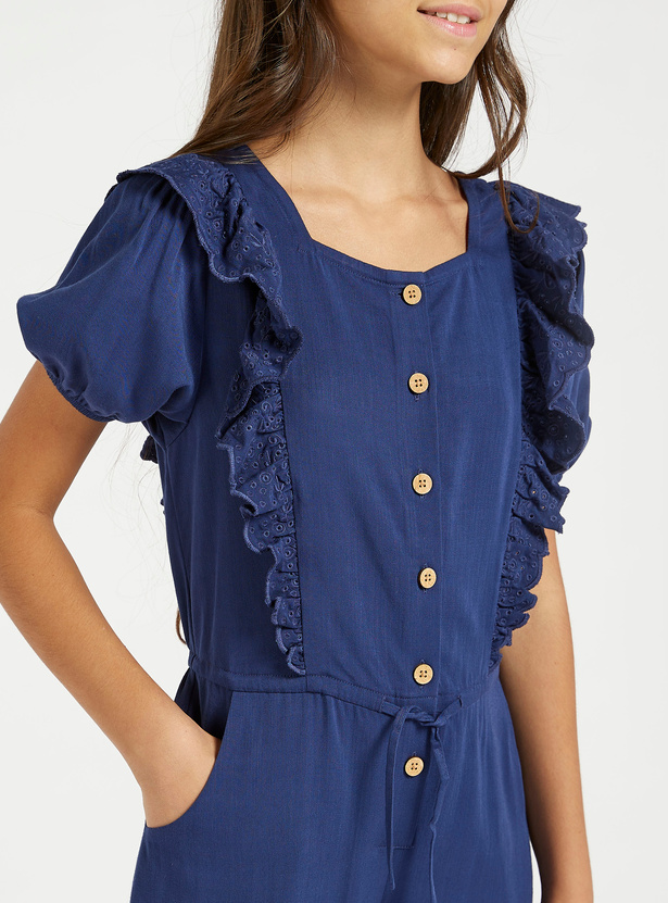 Solid Jumpsuit with Short Sleeves and Ruffle Detail