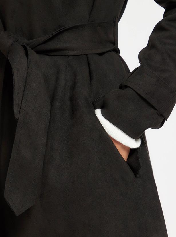 معطف ترنش سويدي سادة بأكمام طويلة وأربطة