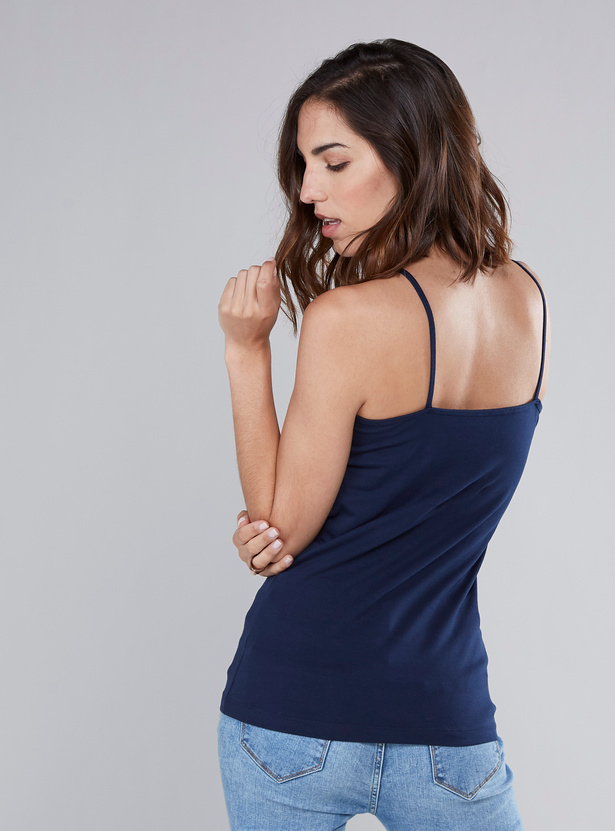 Solid Camisole with Lace Detail