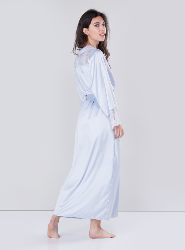 Wrap Robe with Front-Knot Closure and Lace Detail