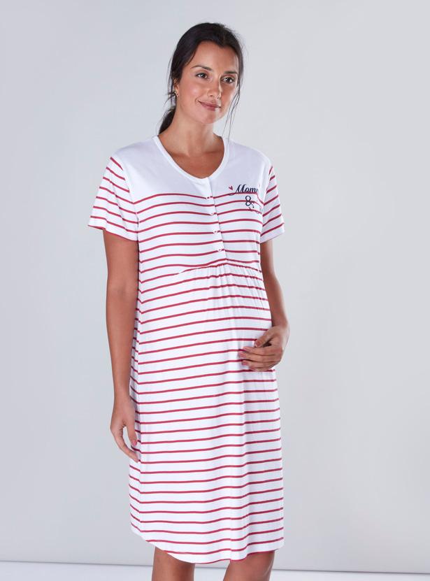 Striped Maternity Sleepshirt with Short Sleeves