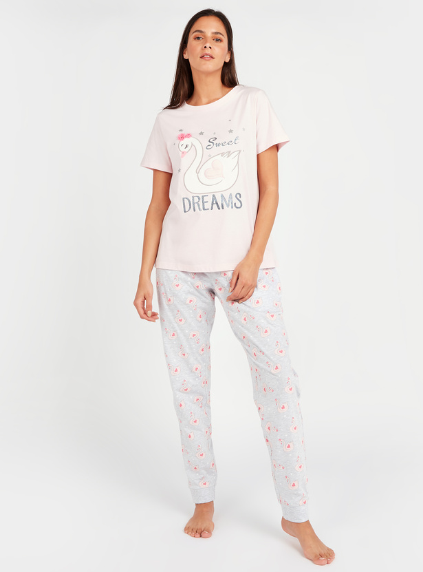 Text Print Short Sleeves T-shirt and Pyjama Set