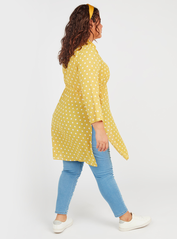 Polka Printed Tunic with Spread Collar and Long Sleeves