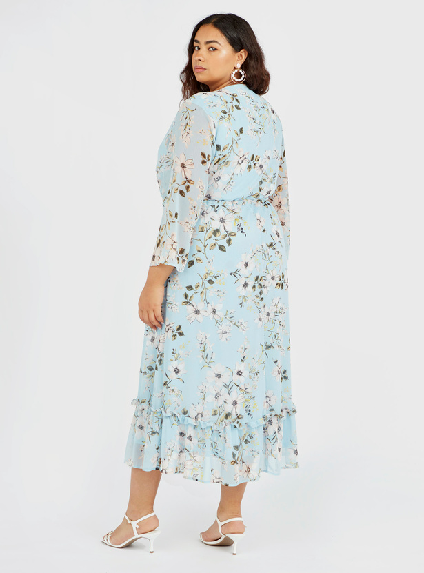 All-Over Floral Print A-line Midi Dress with V-neck and Flared Sleeves