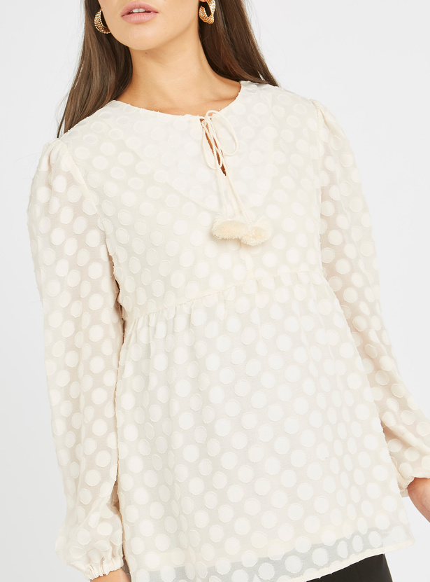 Maternity Textured Top with Long Sleeves and Tie Ups