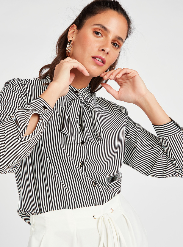 Printed Shirt with Pussy Bow and Long Sleeves