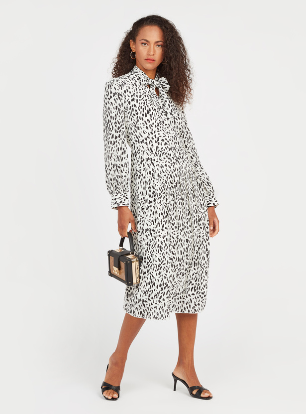 Printed Midi Dress with Long Sleeves and Pussybow