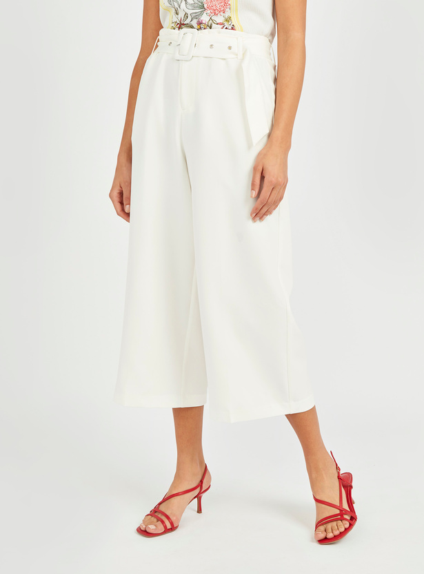 Solid Mid-Rise Culottes with Belt
