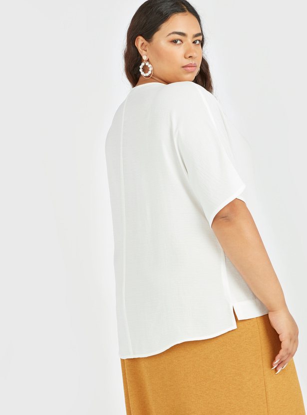 Solid Top with Round Neck and Short Sleeves