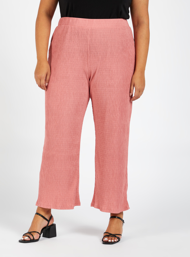 Textured Ankle-Length Palazzos with Elasticised Waistband