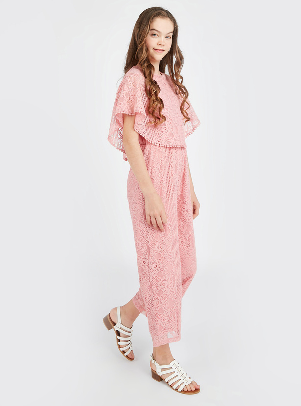 Lace Jumpsuit with Round Neck and Pom-Pom Detail