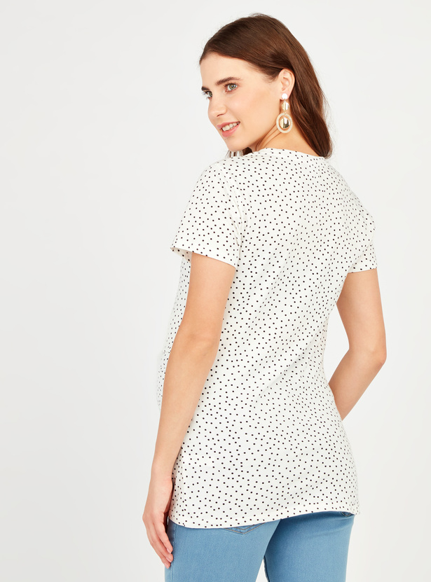Mickey Mouse Print Maternity T-shirt with Round Neck and Short Sleeves