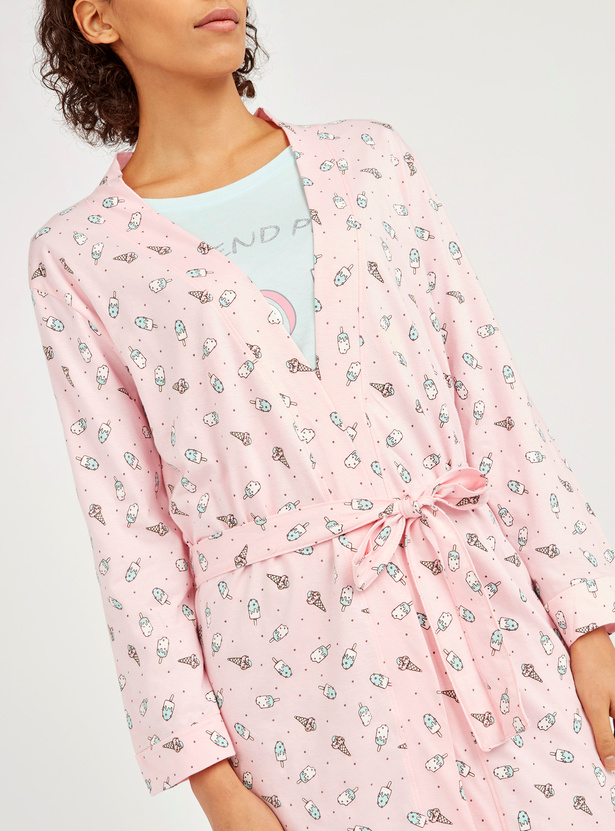 All Over Printed Robe with Long Sleeves and Tie Ups