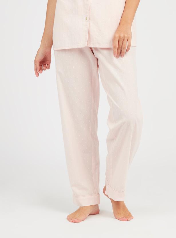 Textured Short Sleeves Shirt and Pocket Detail Pyjama Set