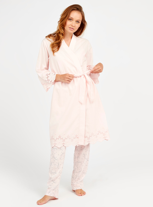 Textured Robe with Schiffli Detail Sleeves and Pocket Detail
