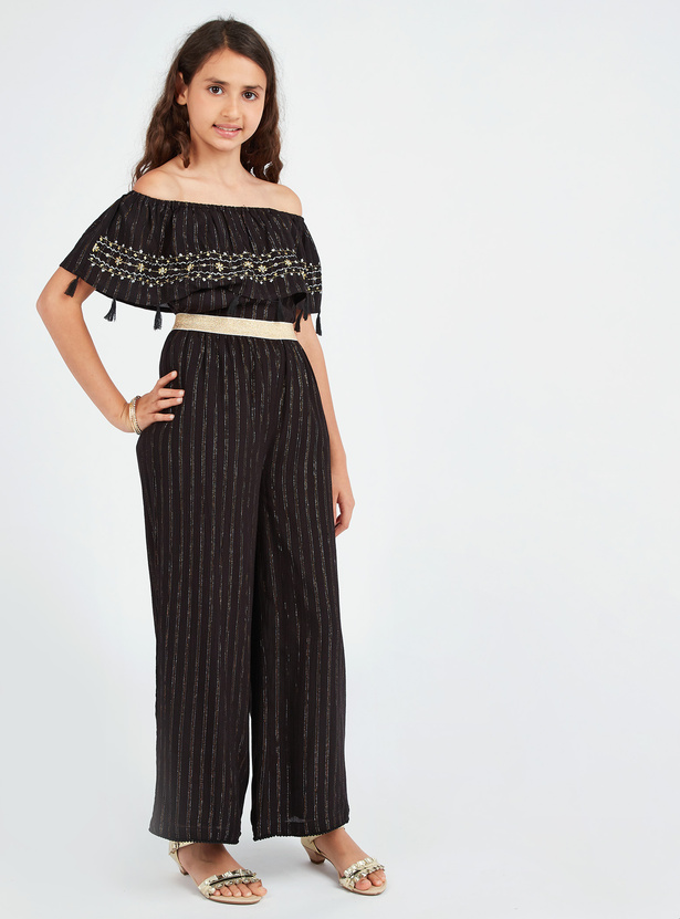 Embroidered Off Shoulder Top with Tassel Detail