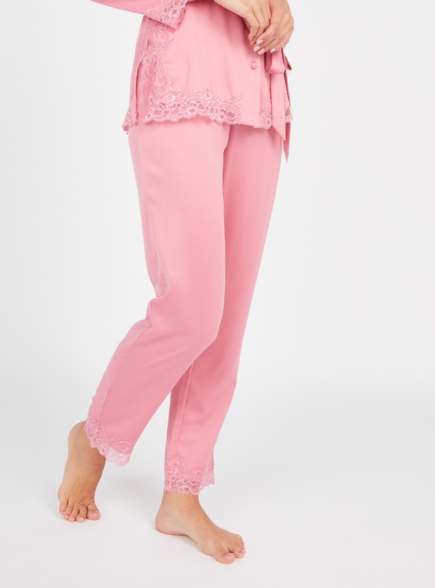 Lace Detail Long Sleeves Shirt and Pyjama Set