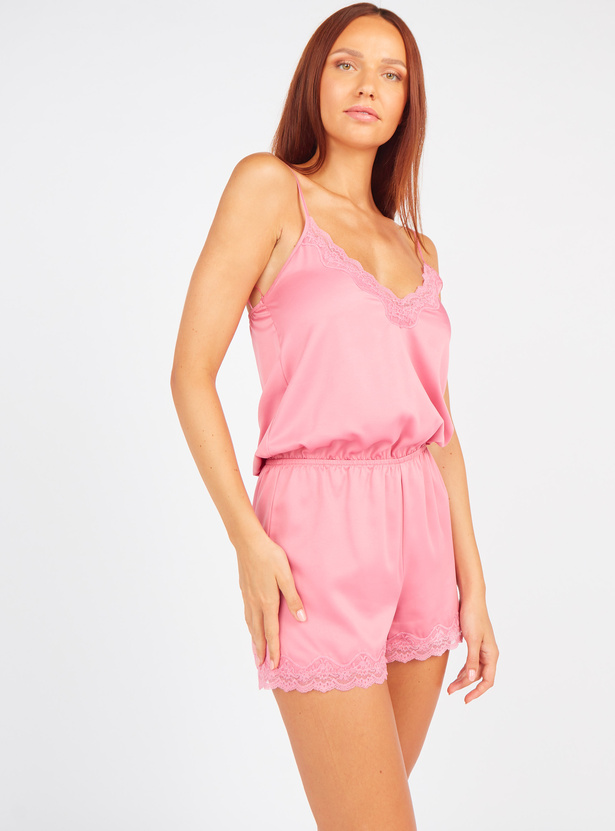 Lace Detail V-neck Top with Shorts