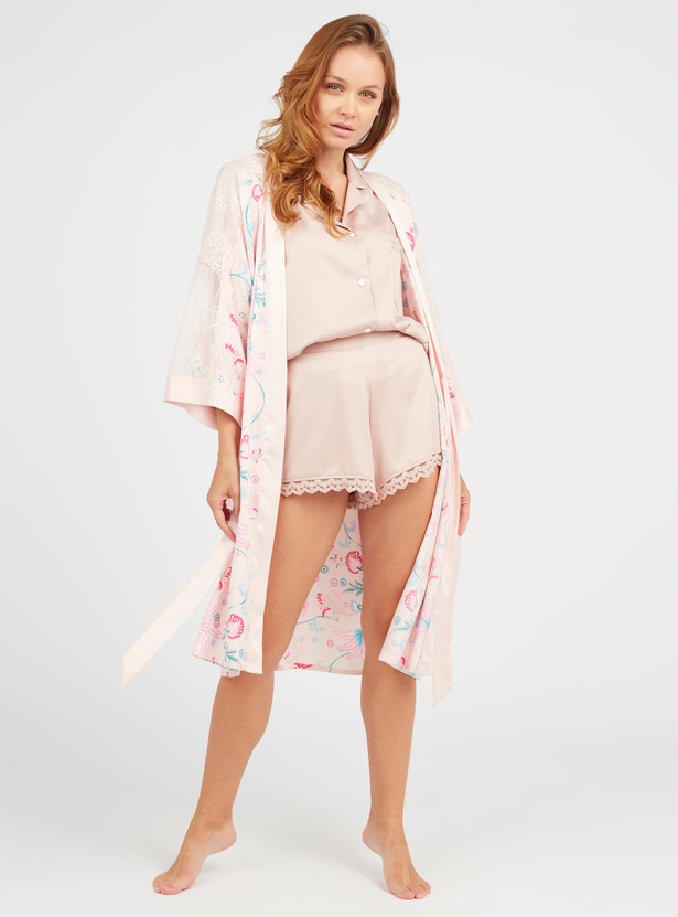 Printed Robe with 3/4 Sleeves and Tie Ups