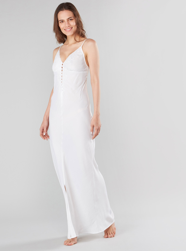 Solid V-Neck Sleeveless Sleep Gown with Lace Inserts