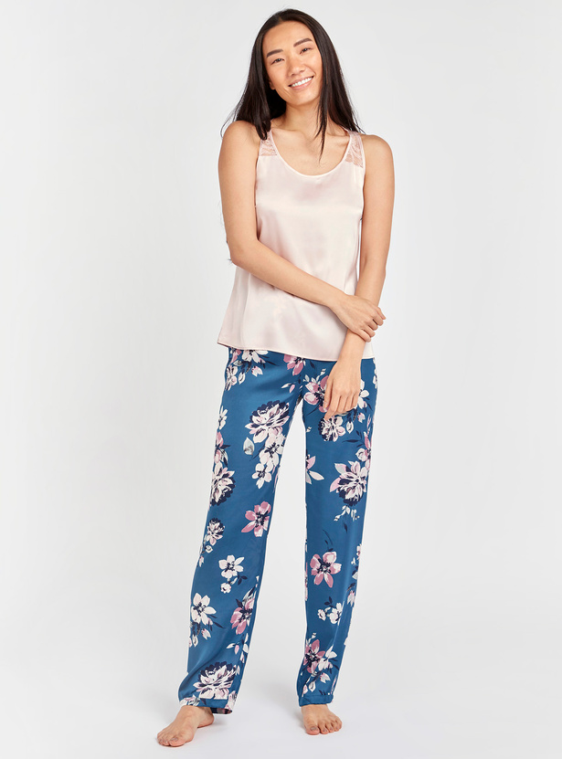 Lace Detail Sleeveless Top and Floral Print Pyjamas