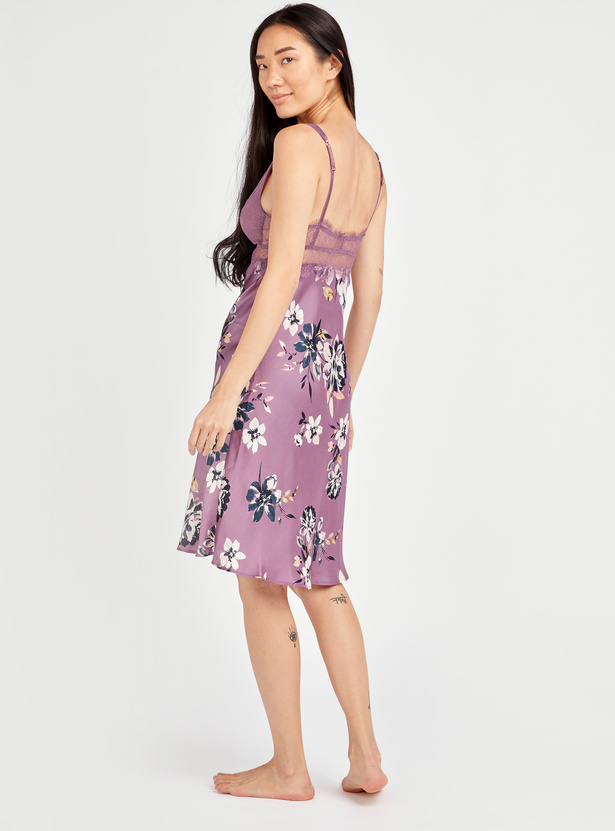 Floral Print Sleeveless Sleep Dress with V-Neck and Adjustable Straps