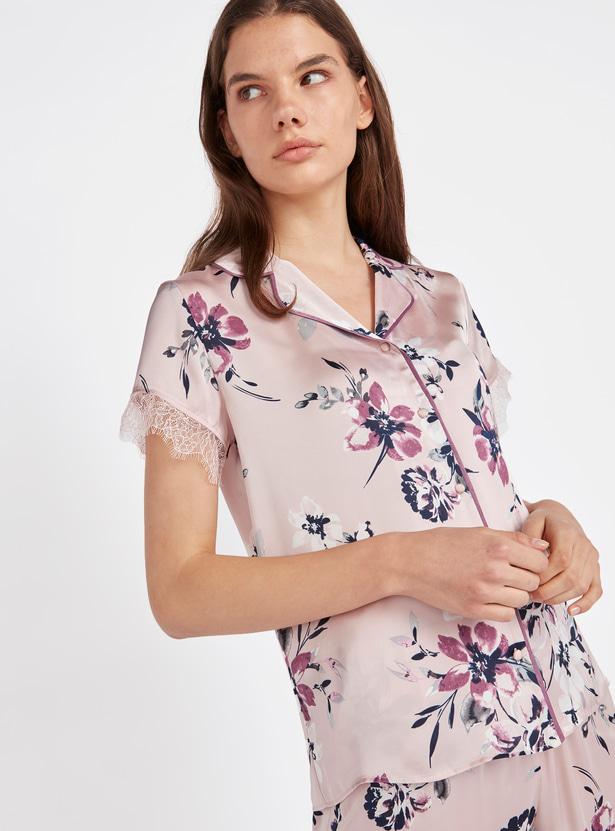 Floral Print Collared Shirt and Pyjama Set
