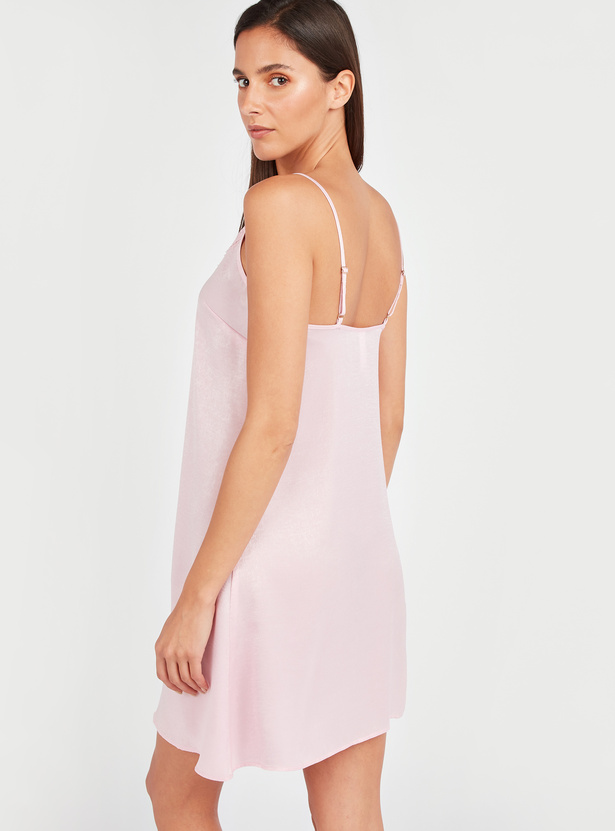 Solid Sleeveless Sleep Dress with V-neck and Lace Detail