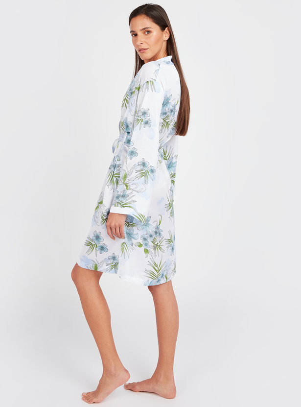 Floral Print Robe with Long Sleeves and Tie Ups