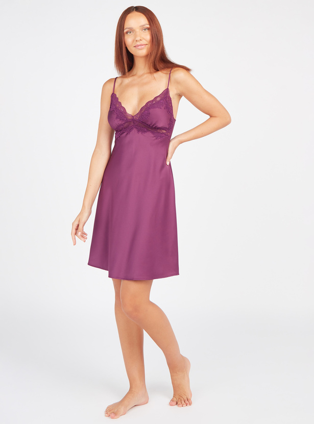 Lace Detail Sleep Dress with V-neck and Adjustable Straps