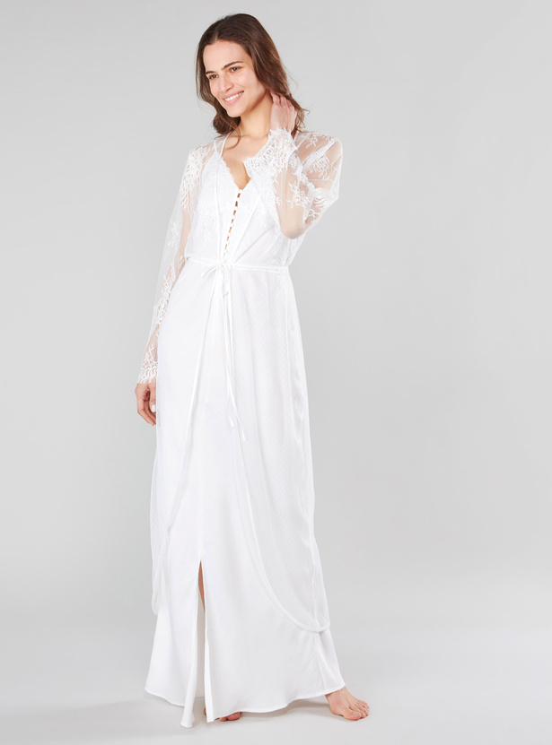 Lace Robe with Front Tie Styling