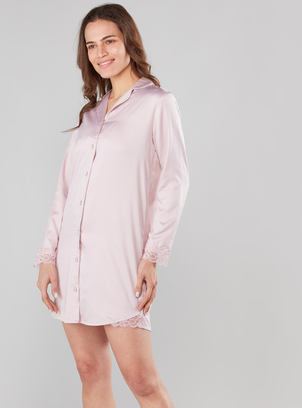 Solid Sleepshirt with Long Sleeves and Lace Detail