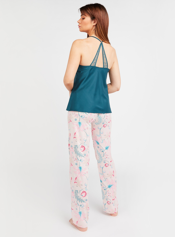 Solid Sleeveless Top and All Over Printed Pyjamas