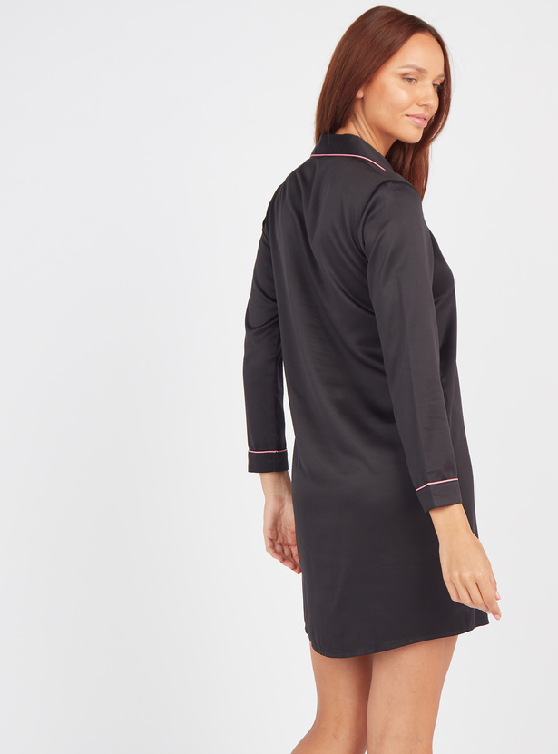 Solid Sleepshirt with Spread Collar and Long Sleeves