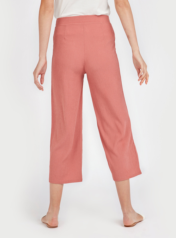 Textured Palazzo Pants with Tie Ups