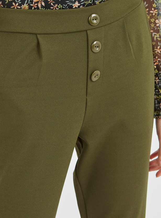 Solid Regular Fit Crepe Trousers with Buttons