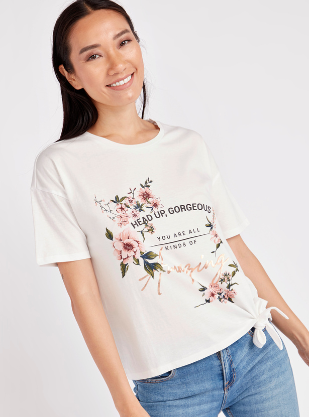 Printed Boxy T-shirt with Round Neck and Tie Ups
