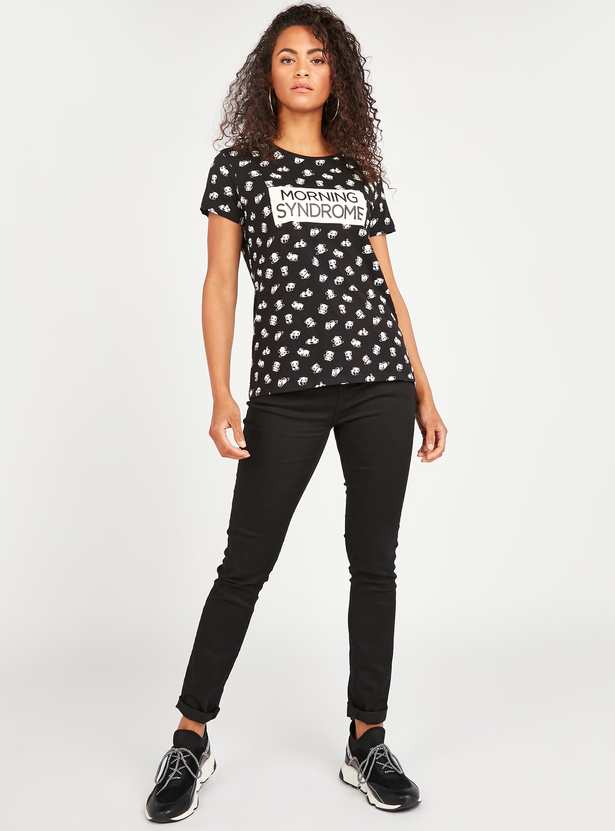All Over Panda Print T-shirt with Round Neck and Short Sleeves