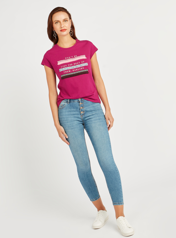 Printed T-shirt with Cap Sleeves and Fringes