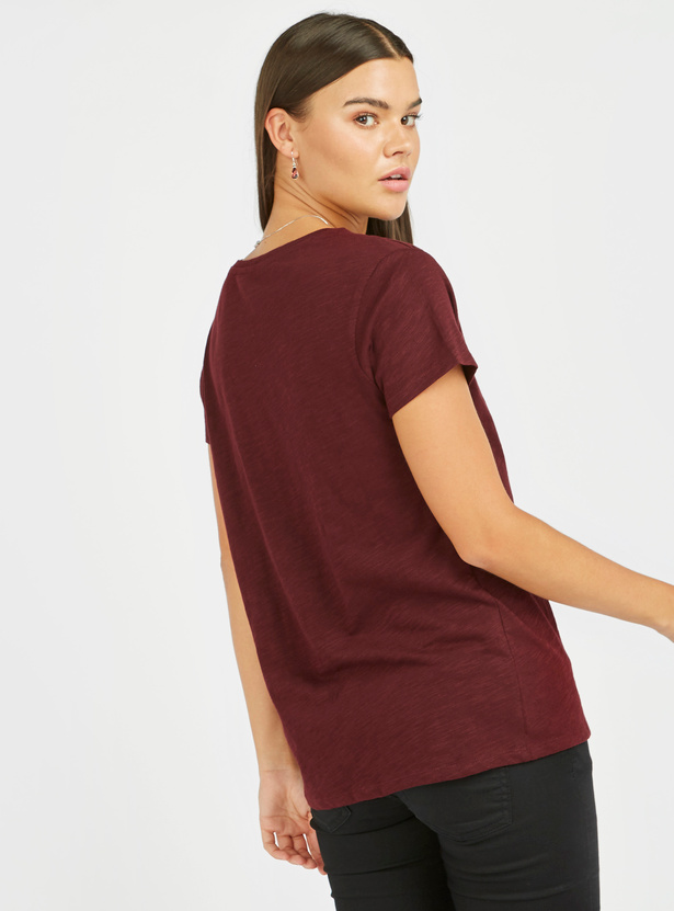 Lace Detail Top with Round Neck and Short Sleeves