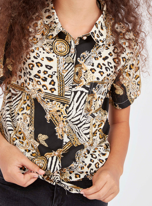 Animal Print Top with Short Sleeves and Tie Ups