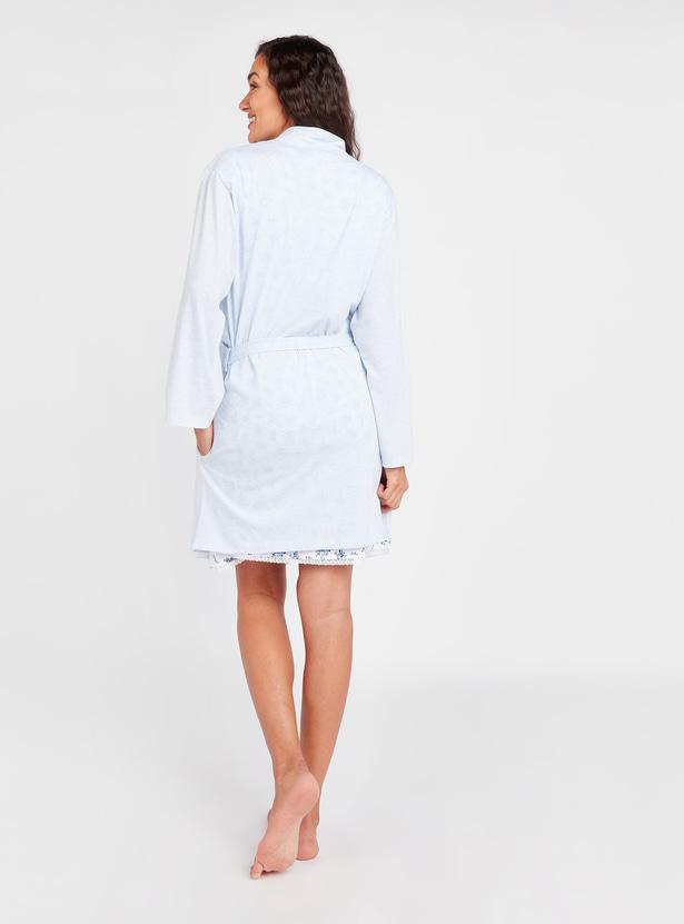 Maternity Printed Round Neck Sleep Dress with Robe