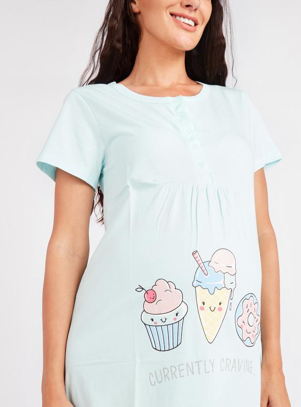 Graphic Print Maternity Sleepshirt with Short Sleeves