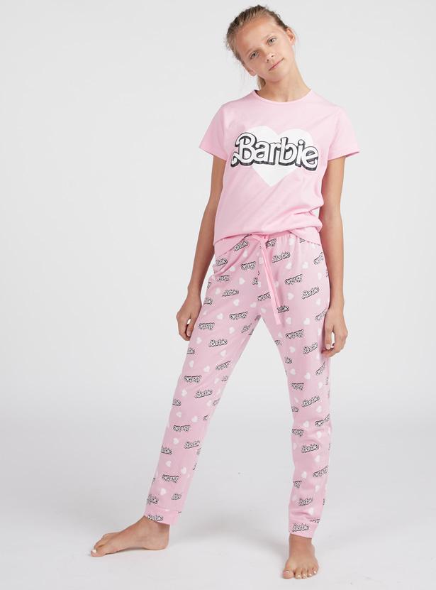 Barbie Print Round Neck T-shirt with Jog Pants