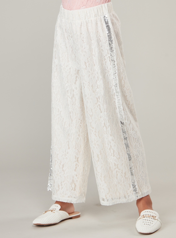 Lace Culottes with Sequin Tape Detail and Elasticised Waistband