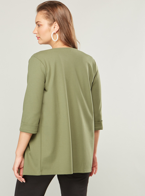 Solid Shrug with Pocket Detail and 3/4 Sleeves